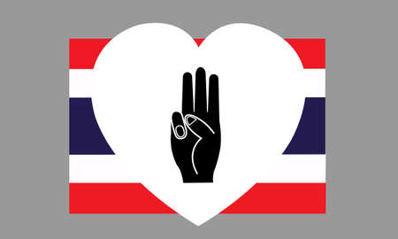 Raise 3 fingers in a white heart on the Thai flag. Symbol of political expression against dictatorship. Show symbolic gestures stand up against the government. Political human rights concept. Illustration