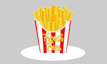 Large french fries fast food. Potato chips in red and white striped paper box. French fries packaging box flat design.