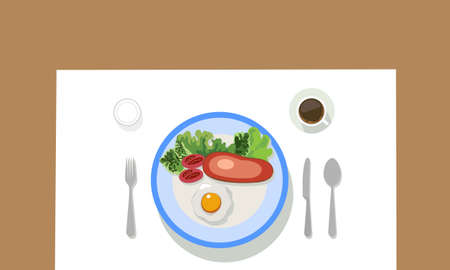 Tableware with fork spoon knife and coffee. Western style food, steak, fried eggs, tomatoes and vegetables.