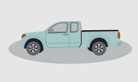 Pickup truck showing side view. Flat styled vector illustration.