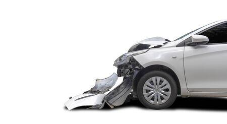 Front white color car big damaged and broken accident. Save . Archivio Fotografico