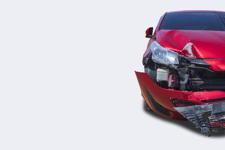 Front red color car big damaged and broken accident.