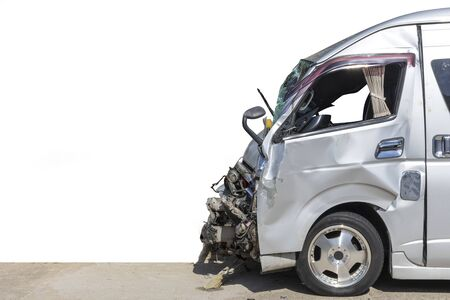 Front white color van car have damaged and broken accident on road parking can not dirve any more. white background. Imagens