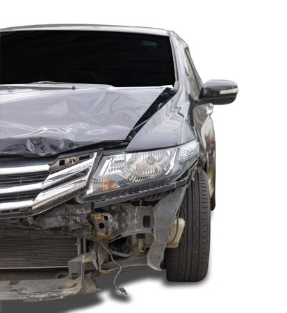 Front  black color car have big damaged and broken  accident on road can not drive any more park for wait insurance officer. Isolate on white background.