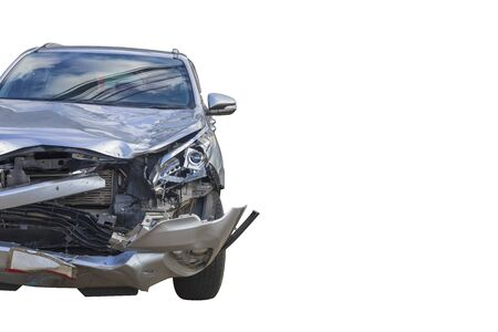 Front  gray color car damaged and broken  accident  on white background.