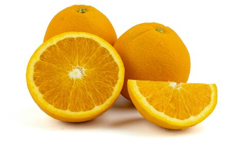 Fresh navel oranges  on white background . 免版税图像
