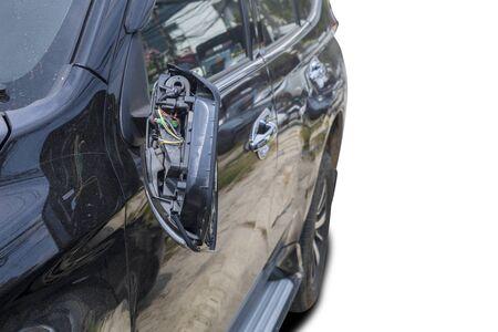 Car accident broken car rearview mirror. car accident
