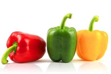 Fresh Green, yellow, red bell pepper. Sweet pepper. Giant pepper. Isolate on white background.