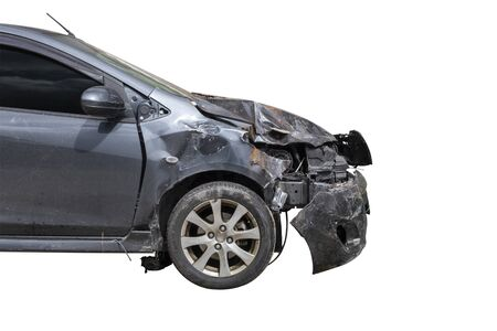 Front black color car damaged and broken accident isolate on white background.