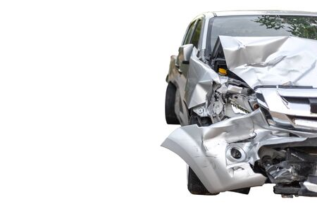 Front of light gray color car with pick up have big damaged and broken by accident on road in morning time can not drive any more park for wait insurance officer. Isolate on white background save with clipping path
