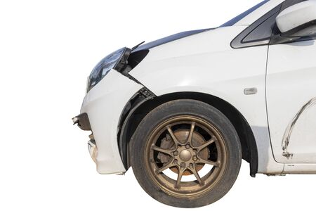 Front of white color car damaged and broken by accident on road parking con not drive any more. Isolate on white background. Save with clipping path