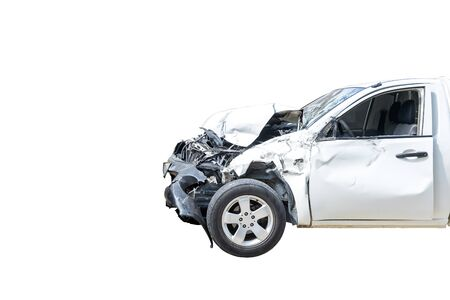 Front of white color car damaged and broken by accident on road parking can not drive any more. Isolated on white bakcground. Save with clipping path