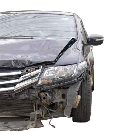 Front of black color car have big damaged and broken by accident on road can not drive any more park for wait insurance officer. Isolate on white background. Save with clipping path