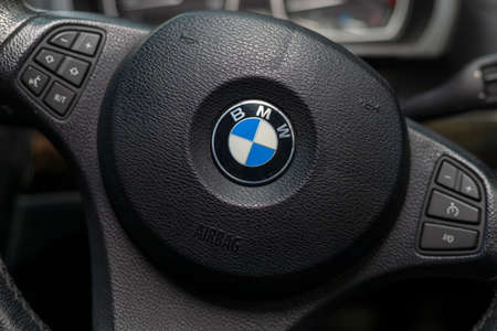 Phuket, Thailand. October 24, 2019: BMW X3 , Black car Interior steering wheel and side control. Editorial