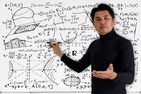 Mature professor teaching mathematics to students in classroom. Teacher man solving math problem while writing on white board with video conference. Covid-19 learn from home. Standard-Bild