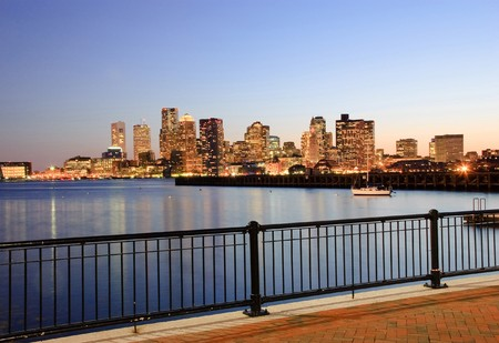 View on Boston downtown from Piers Park Banque d'images