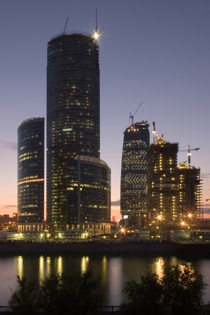 """Construction of modern buildings """"Moscow-city"""" in Moscow, Russia 版權商用圖片"""