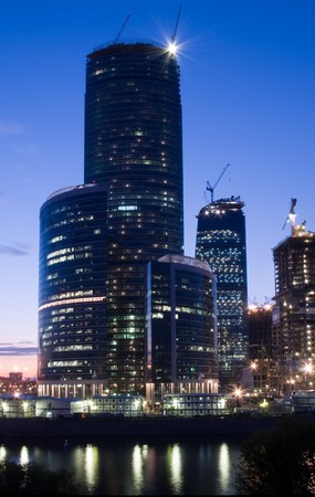 erection: Buildings erection at Moscow City business district Stock Photo
