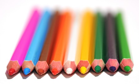 Perspective view of sharp colored pencils photo