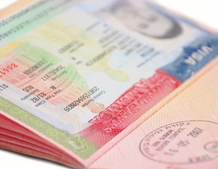 visa: US Visa in Russian passport Stock Photo