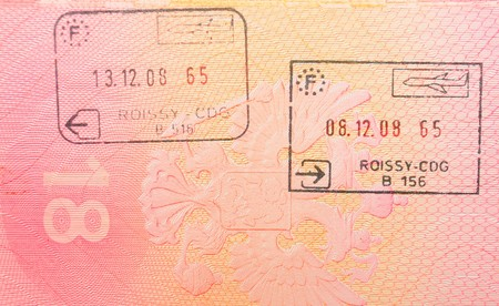 French border stamps in passport photo