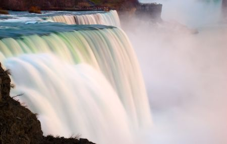 View of the American Falls at Niagara Falls from the american side, the Maid of the Mist