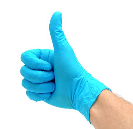 Man's hand in a blue latex glove