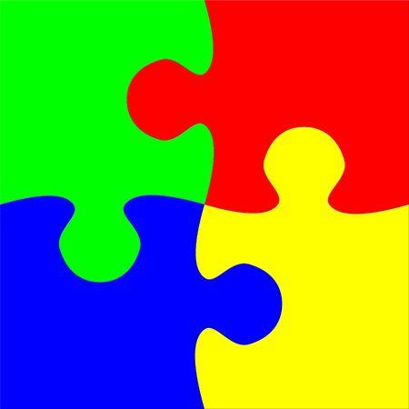 Four connected puzzle elements Stok Fotoğraf