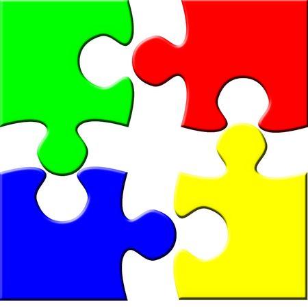 Four disconnected puzzle elements photo