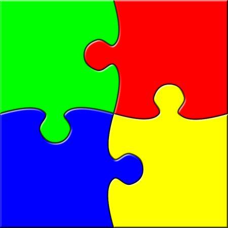 Four connected puzzle elements Banque d'images
