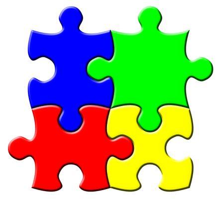 Four connected multicolor puzzle elements