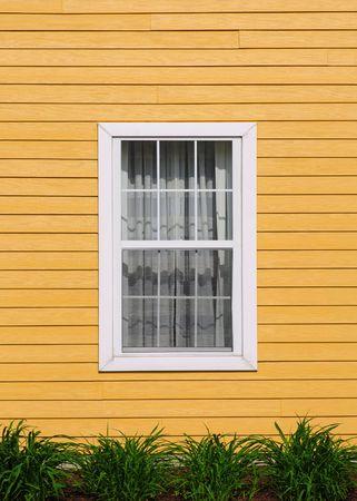 window curtains: One window on wood wall