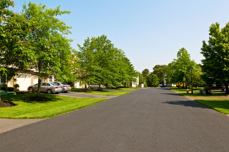 Quiet street in small american town Stockfoto