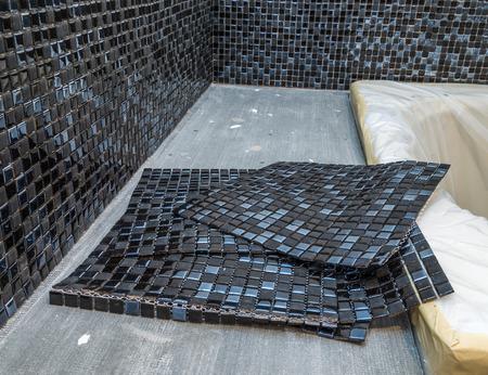 Black mosaic ceramic tiles for tiling 免版税图像