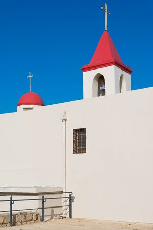 ancient near east: Christian monastery, landmark of Acre, Israel Stock Photo