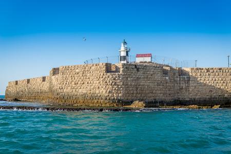 ancient near east: View from the see on walls of Acre, Israel Editorial