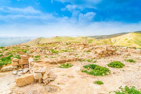 judea: Ruins of Hyrcania Fortress in historical Judea Stock Photo