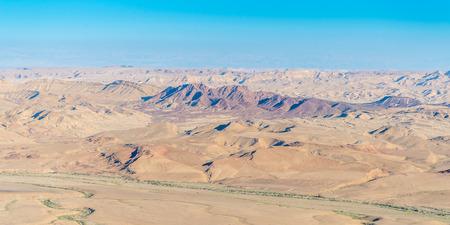 bird of israel: aerial view of negev desert at ramon area