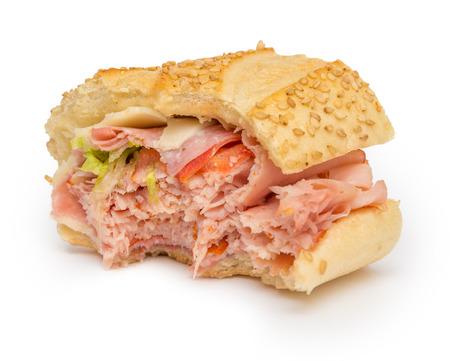 hoagie: Bitten sandwich isolated on white background