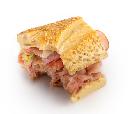 bitten: Bitten sandwich isolated on white background