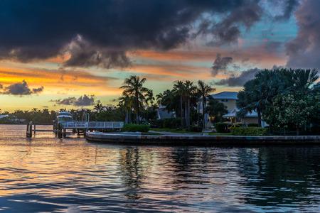 neighbourhood: Sunset over the neighbourhood in south florida