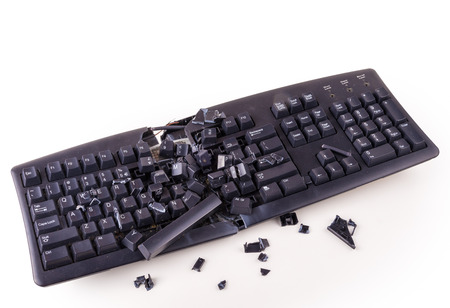 computer keys: Destroyed keyboard which will never work again