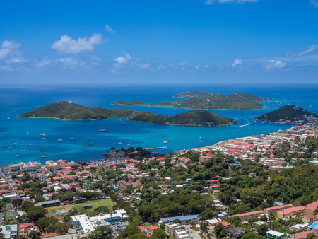 Charlotte Amalie panoramic view from top of the mountain, St Thomas, US Virgin Islands