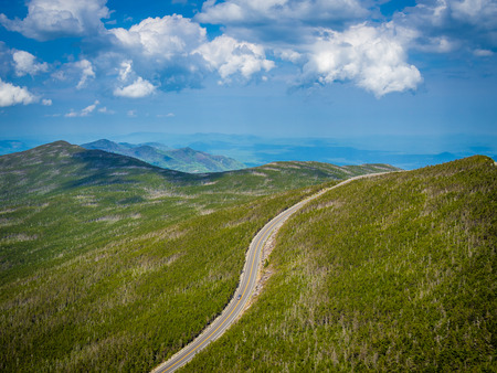 Road to the top of Whiteface mountain in Adirondack, NY, USA