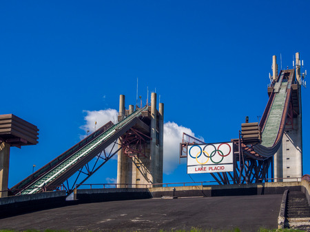 placid: Olympic ski jump complex in Lake Placid, NY, USA