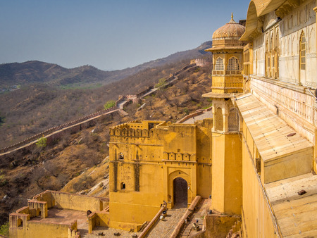 mughal architecture: Amer (Amber) Fort in Jaipur, Rajasthan, India Stock Photo