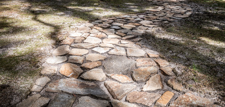 front  or back  yard: Stock photo of stone side walk Stock Photo