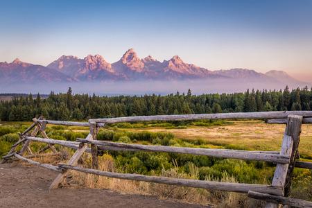 View of Grand Teton Mountains Stock Photo