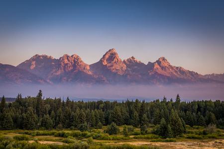 teton: View of Grand Teton Mountains Stock Photo