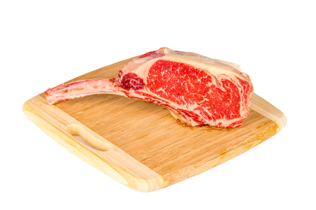 Prime rib steak isolated on white background